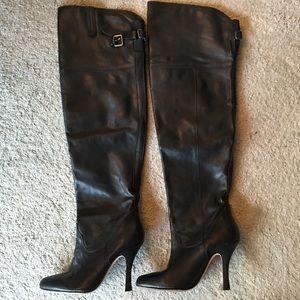 Dolce Vita OTK black leather heeled boots, size 7